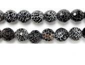 Perle Facettes Agate Noire Striee Antique Look 08mm - Fil de 40 Centimetres