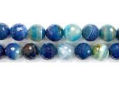 Perle facettes agate bleue striee 20mm - Fil de 40 Centimetres