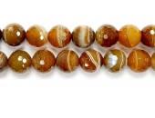 Perle Facettes Agate Marron Striee 14mm - Fil de 40 Centimetres