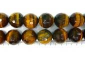 Perle facettes oeil de tigre 20mm - Fil de 40 Centimetres