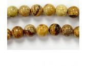 Perles en pierres jaspe picture 10mm - Fil de 40 Centimetres