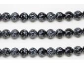 Perles en pierres obsidienne snowflake 4mm - Fil de 40 Centimetres