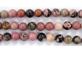 Perles en pierres rhodonite 12mm - Fil de 40 Centimetres