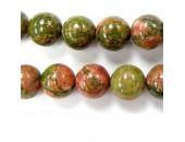 Perles en pierres unakite 8mm - Fil de 40 Centimetres