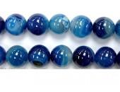 Perle agate bleue striee 8mm - Fil de 40 Centimetres