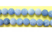 perle agate antique look bleue 12mm - Fil de 40 Centimetres