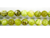 perle agate Lime chauffee 10mm - Fil de 40 Centimetres