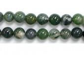 Perle Agate Mousse 08mm - Fil de 40 Centimetres