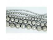 Perles Facettes Hematite Argentée 6mm
