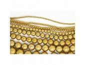 Perles en pierres hématite dorée 6mm