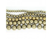 Perles en pierres hématite Couleur Pyrite 3mm