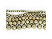 Perles en pierres hématite Couleur Pyrite 8mm