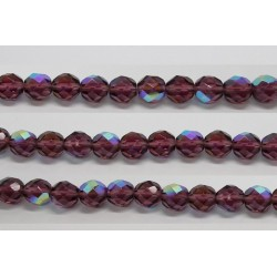 30 perles verre facettes amethyste A/B 6mm