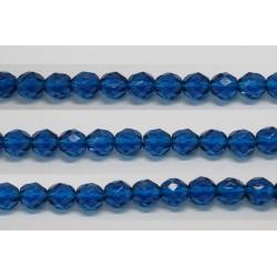 30 perles verre facettes aigue capri 14mm