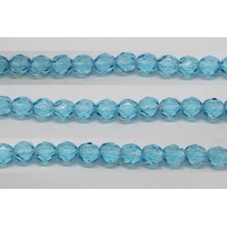 60 perles verre facettes aigue marine 5mm