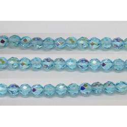 60 perles verre facettes aigue marine A/B 4mm
