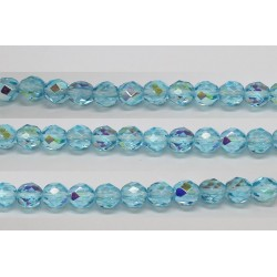 30 perles verre facettes aigue marine A/B 10mm