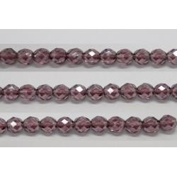 60 perles verre facettes amethyste lustre 3mm