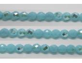 30 perles verre facettes aigue opale A/B 6mm