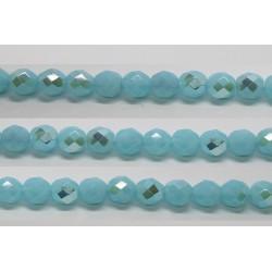 30 perles verre facettes aigue opale A/B 10mm