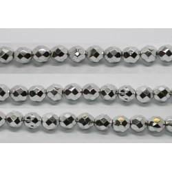 30 perles verre facettes argent 12mm