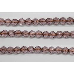 30 perles verre facettes amethyste trou cuivre 6mm