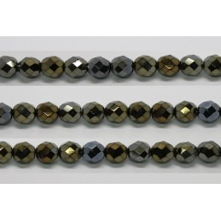 30 perles verre facettes bronze irise 14mm