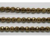 30 perles verre facettes noir bronze 6mm