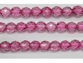 30 perles verre facettes rose fonce 6mm