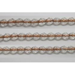 30 perles verre facettes cristal trou cuivre 6mm