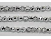 60 perles verre facettes demi argent 5mm
