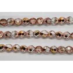 30 perles verre facettes demi dore 12mm