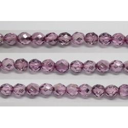 30 perles verre facettes fuschia demi metalise 6mm