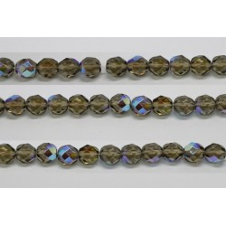 30 perles verre facettes gris A/B 6mm