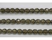 60 perles verre facettes gris fume 4mm