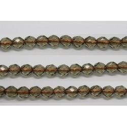 60 perles verre facettes gris trou cuivre 4mm