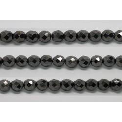 30 perles verre facettes hematite 6mm