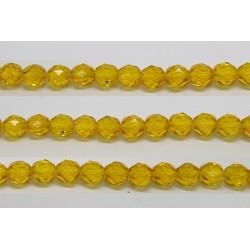30 perles verre facettes jaune 6mm
