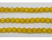 30 perles verre facettes jaune 10mm