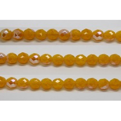 30 perles verre facettes jaune opale A/B 8mm
