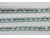30 perles verre facettes aigue-marine trou cuivre 6mm