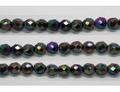 30 perles verre facettes noir A/B scarabe 6mm