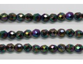 30 perles verre facettes noir A/B scarabe 16mm