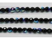 60 perles verre facettes noir irise 4mm