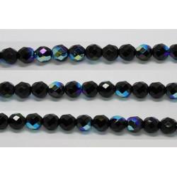 30 perles verre facettes noir irise 12mm