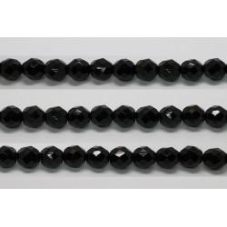 30 perles verre facettes noir 14mm