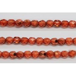 60 perles verre facettes orange fonce demi metalise 5mm