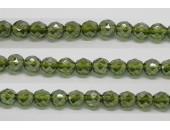30 perles verre facettes olivine lustre 6mm
