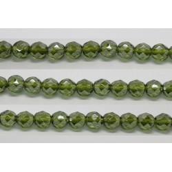 30 perles verre facettes olivine lustre 10mm