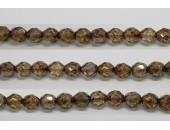 60 perles verre facettes poudre brun 3mm